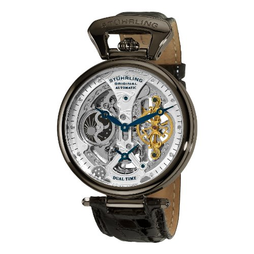 Stührling Original Mens Skeleton Watch Dial Automatic Watch with Calfskin Leather Band and – Dual Time, AM/PM Sun Moon