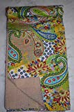 Tribal Asian Textiles Traditioanl India Cotton Twin Blanket, Kantha Reversible Quilt , Wedding Kantha Quilt Vintage Kantha Throw Bedroom Beddiing Floral Gudri Ralli Bedspreads Kantha Quilt