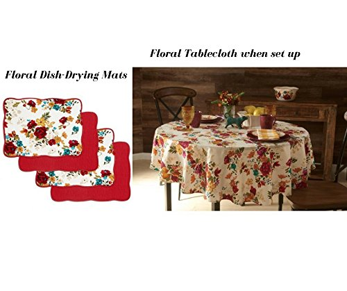 Pioneer Woman 15'' x 20'' ReversibleTimeless Floral Dish-Drying Mats, Pack of 4 Bundled with Round Floral Tablecloth by The Pioneer Woman