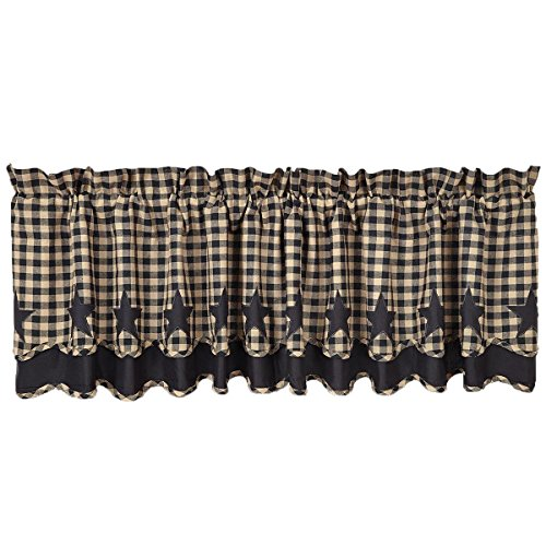 VHC Brands 20235 Black Star Scalloped Valance Layered Lined (Layered Scalloped Valance)