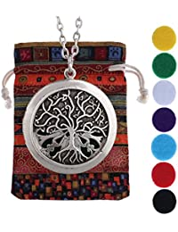 Aromatherapy Essential Oil Diffuser Antique Silver Lockets Tree of Life Celtic Knots Pendant Necklace + Link Chain...