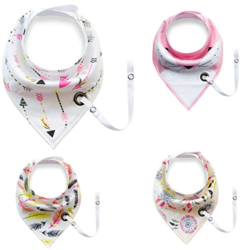 Baby Bandana Drool Bibs With Pacifier Clip 100% Cotton Absorbent Triangles For Boys Girls Gift Set 4 Pack (Girls-01)