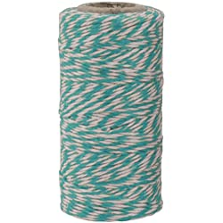The Gift Wrap Company Baker's Twisted Twine, 500 yd, Aqua Blue/White