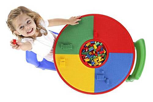 Tot Tutors Kids 2-in-1 Plastic LEGO-Compatible Activity Table and 2 Chairs Set, Primary Colors by Tot Tutors (Image #2)