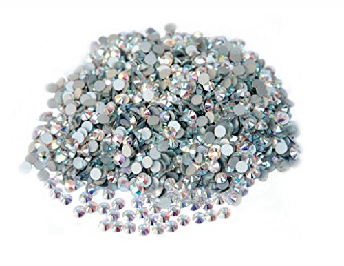 Jingle 1440pc/pack Crystal Non Hotfixed Flatback Rhinestones for Nails Nail Rhinestones Bag Shoe Nail Art Decoration DIY Beads Size ss6 1.9-2.0mm Clear AB (White AB) Color