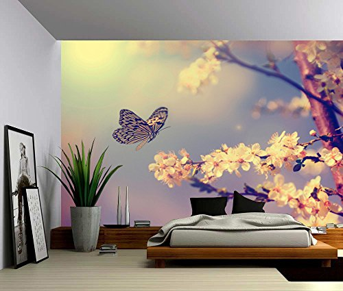 Picture Sensations Canvas Texture Wall Mural, Butterfly Dream, Self-adhesive Vinyl Wallpaper, Peel & Stick Fabric Wall Decal - 48x36