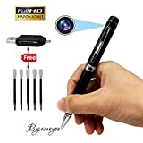 Bysameyee Spy Camera Pen HD 1080P Mini DVR, Portable Video Recorder Hidden Camcorder with 5 Ink Refills, Card Reader – Black and Silver