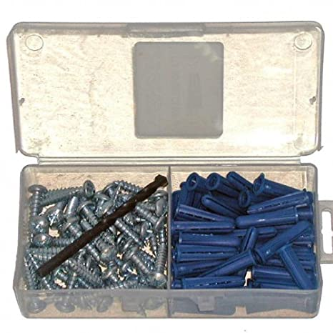 14-16 x 1-1//4 Ribbed Plastic Drywall Anchor Kit with Screws and Masonry Drill Bit