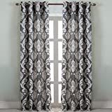 NAPEARL European Style Jacquard Semi-Blackout Grommet Top Window Curtain Panel Set of 2 Panels (Gray, 52'' Wx84 L)