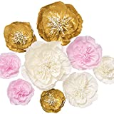 Ling's moment Giant Paper Flowers, 9 X Crepe Paper Flowers, Handcrafted Large Paper Flowers, Paper Flowers Decorations for Wall Fall Wedding Backdrop Bridal Shower Nursery Arch(Pink+Gold+White)