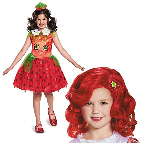 Shopkins Strawberry Kiss Costume Bundle Set - Child Medium Costume and Wig