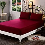 "Dream Care Waterproof Dustproof Terry Cotton Mattress Protector for Queen Size Bed - 78""x60"", Maroon"