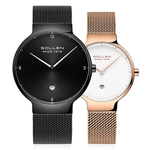 SOLLEN His and Hers 6.95mm Thickness Quartz Analog Waterproof Couple Wrist Watch 2 pcs for Lovers (Black+Gold) by SOLLEN