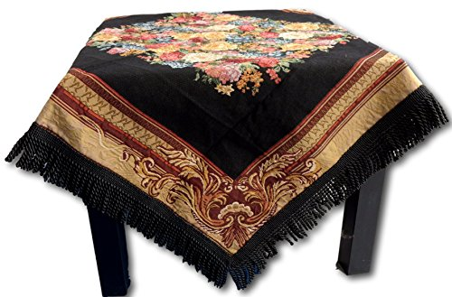 Tache 35 X 35 Inch Square Country Rustic Woven Black Floral Midnight Awakening Tablecloths