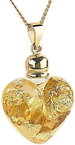 St. Leonhard Goldkette mit Herz: Glas Herzanhänger mit 23K Blattgold inkl. vergoldeter Kette (Herz Anhänger Glas)