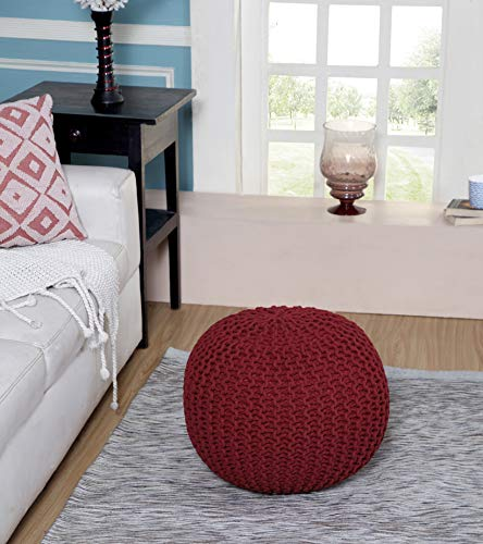 Tex Trend - Hand Knitted Cable Style Dori Pouf - RED - Floor Ottoman - 100% Cotton Braid Cord - Handmade & Hand Stitched - Truly one of a Kind Seating - 20 Dia x 14 High