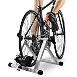 Health Line Products Bike Trainer Stand, Indoor Magnetic Bicycle Exercise Trainer Quiet Noise Reduction Stationary Bike Stand w Wider 8 Levels Resistance/Quick Release and Front Wheel Block
