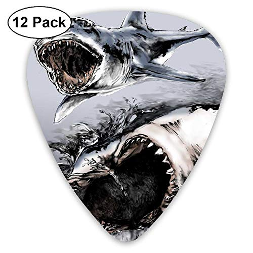 12-Pack Fashion Classic Electric Guitar Picks Plectrums Shark Clipart Art Instrument Standard Bass Guitarist]()