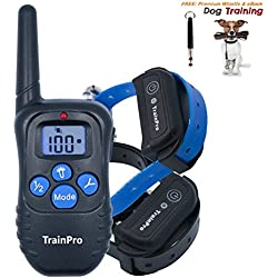 TrainPro PRO998 Electronic Dog Training Shock Collar 330 Yard Rechargeable Waterproof e-Collar System with Tone, eBook and Whistle