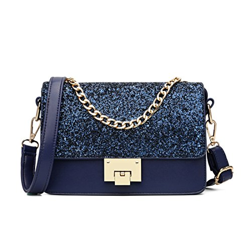 Crossbody Shoulder Handbag Exquisite Women Clutch Blue Chain Tote Sequin Bag Girl Sparkly fgqHIcvtH
