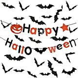 Halloween Party Decorations Supplies 60 PCS 3D Bats Wall Stickers Window Decals Decor,With a HAPPY HALLOWEEN Banner Great for Outdoor or Indoor Halloween Decorations