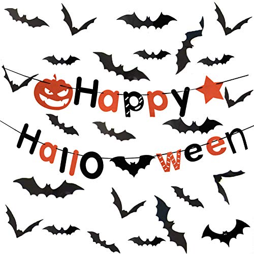 GF CREATIONS Halloween Party Decorations Supplies 60 PCS 3D Bats Wall Stickers Window Decals Decor,with a Happy Halloween Banner Great for Outdoor or Indoor Halloween -