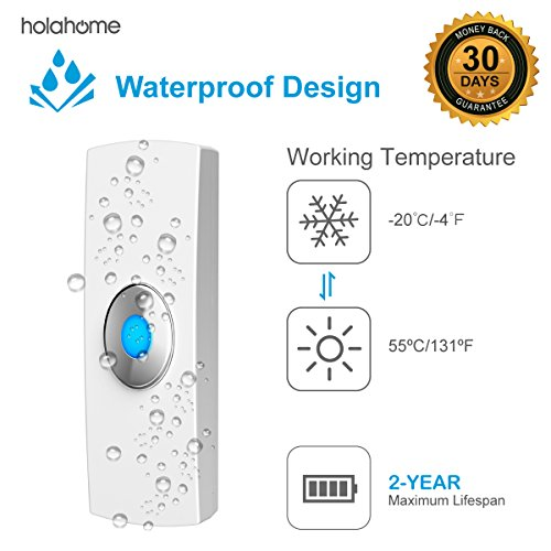 Holahome Wireless Doorbell - Waterproof Portable Door Bell Chime Kit Push Button with 2 Portable Receivers 32 Melodies Wireless Door Alarm Chime Long Range Battery Operated for Home Office White by holahome (Image #6)