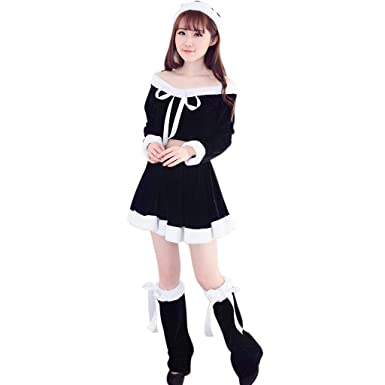 79a913cf9a8b GLVSZ Women Santa Claus Christmas Clothes Costume Party Cosplay Outfit  Fancy Dress Set Black