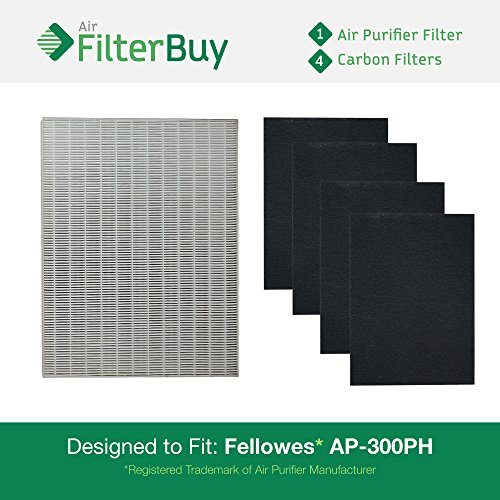 1 Fellowes HEPA Air Purifier Filter & 4 Carbon Filters. Designed by FilterBuy to fit Fellowes AP-300PH and replace part # HF-300.