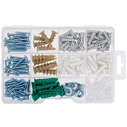 Vastar 200 Pieces Drywall and Hollow-wall Anchor Assortment Kit, Anchors, Screws, Wall Anchor Hooks, and Hollow-door Toggle by Vastar