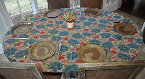 Elastic Edged Flannel Backed Vinyl Fitted Table Cover - FLORAL Pattern - Oblong/Oval - Fits tables up to 48