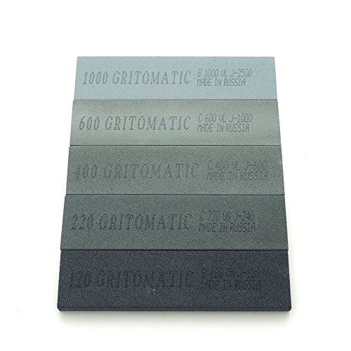 "New Gritomatic Silicon Carbide 4"" x 1"" x 0.25"" Sharpening Stone Set for KME (5 stones) for cheap"