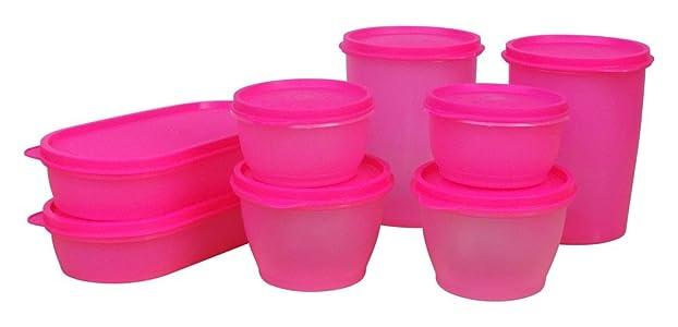 Princeware Modular Plastic Container Set, 8-Pieces, Pink