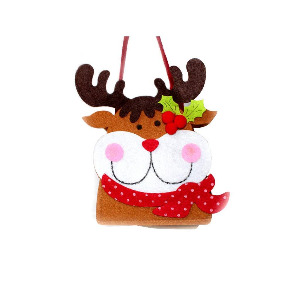 YaptheS Christmas Gift Handbag Xmas Reindeer Elk Gift Handbag Non-woven Fabric Tote Bag Trick or Treat Candy Bag Mall Gift Bags Ghost Festival Decoration Christmas Gift