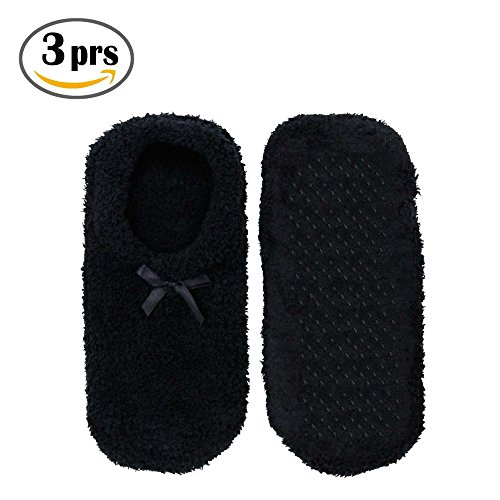 Super Soft Warm Microfiber Travel Sock Footsie Slipper - Low Cuff - Black - 3 pr