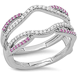 10K Gold Round White Diamond & Pink Sapphire Ladies Wedding Band Split Shank Enhancer Guard Double Ring