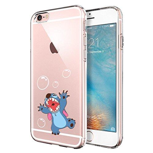 iPhone 6 CASE,iPhone 6S CASE, Stitch Playing Bubble Cartoon Design 3D Printed Soft Clear TPU Cute Case (Cheap 6 Iphone Disney Case)
