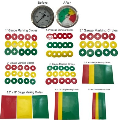 Gauge Warning Film Circles Master Kit (86 Pieces) Transparent Warning Film Pressure Gauge Warning Film (86 Pieces, Multi) ()