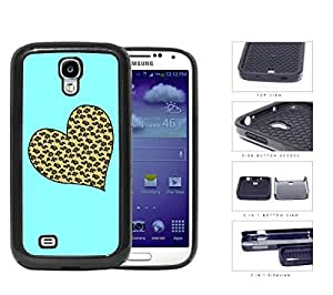 Leopard Print Heart Shape With Aqua Background 2-Piece Dual Layer High Impact Rubber Silicone Cell Phone Case Samsung Galaxy S4 SIV I9500