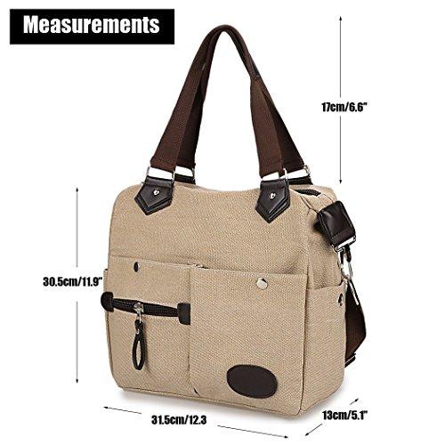 Bolsa mensajero - All4you multifuncional lona moda señoras bolsos de hombro Handbag(Green) Marrón