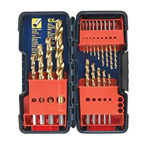 Bosch TI18 18-Piece Titanium Twist Drill Bit Set with Plastic Case