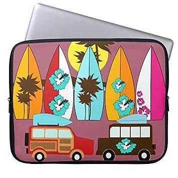oliyneco riñonera de Tablas de Surf Playa Surf Hippie Furgonetas Funda de Neopreno Funda para portátil