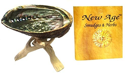 New Age Smudges and Herbs Abalone Shell 5-6'' & 6'' Wooden Tripod by New Age Smudges and Herbs