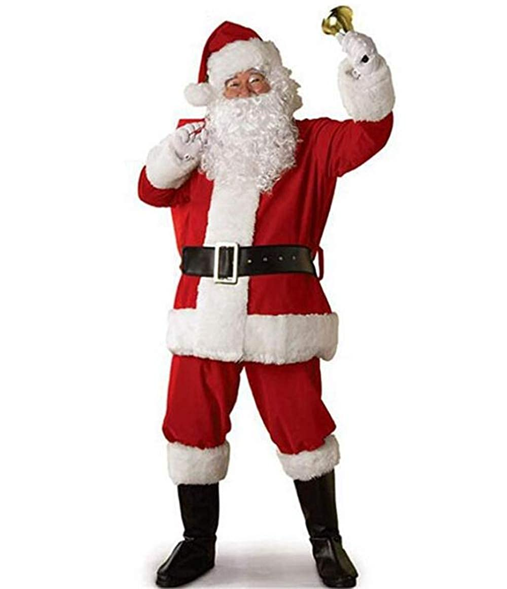 Jiuhexu Santa Claus Suit Men's Adults Costume for Christmas Holiday Polyester