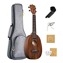 Concert Pineapple Ukulele 23 Inch for Beginner Mahogany Hawaiian Ukele for Men Kids Women Kit With Bundle