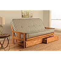 Kodiak Furniture KFMODBTCOZNLF5MD4 Monterey Futon Set with Butternut Finish and Storage Drawers, Full, Cozumel Navy