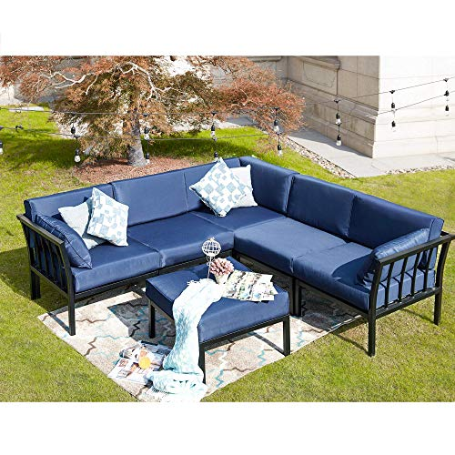 LOKATSE HOME 6 Piece Patio Conversation Set Outdoor Furniture Sectional Sofa with 3 Corner Couch 2 Armless Chair and 1 Ottoman, 6Pcs, Blue Cushions
