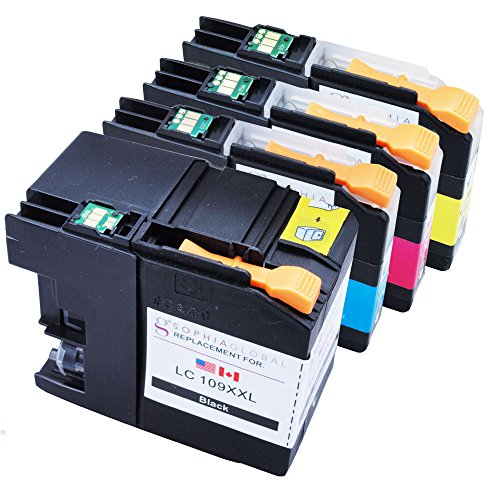Sophia Global Compatible Ink Cartridge Replacement for LC109XXL and LC105XL (1 Black, 1 Cyan, 1 Magenta, 1 Yellow)