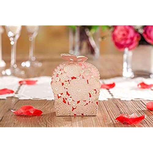 Butterfly wedding favors amazon wishmade laser cut wedding favor boxes candy bags pink and gold party supplies butterfly release box 50 pieces cb6065 junglespirit Images