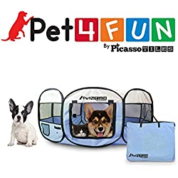 "PET4FUN PN935 35"" Portable Pet Puppy Dog Cat Animal Playpen Yard Crates Kennel w/ Premium 600D Oxford Cloth, Tool-Free Setup, Carry Bag, Removable Security Mesh Cover/Shade, 2 Storage Pockets(Blue)"